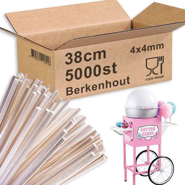 Suikerspinstokjes Berkenhout 38cm 5000st.
